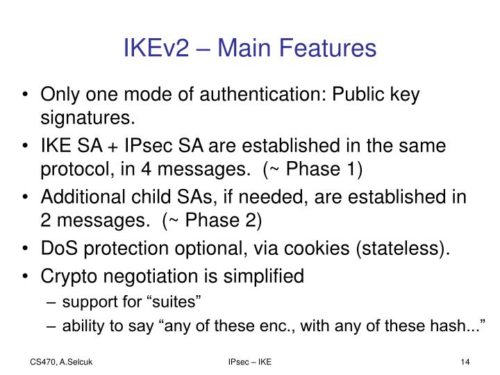 IKEv2 – Main Features