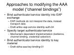approaches to modifying the aaa model channel bindings
