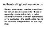 authenticating business records