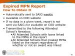 expired mpn report how to obtain it