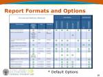 report formats and options