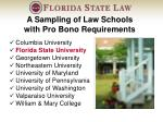 a sampling of law schools with pro bono requirements