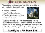 identifying a pro bono site