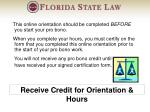 receive credit for orientation hours