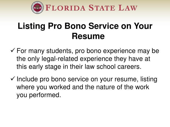 Listing Pro Bono Service on Your Resume