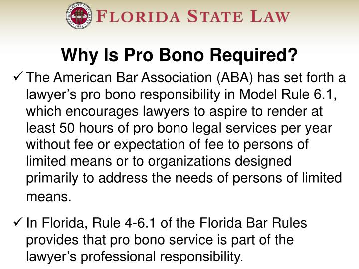Why Is Pro Bono Required?