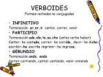 verboides formas verbales no conjugadas