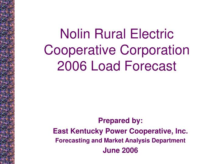 nolin rural electric cooperative corporation 2006 load forecast n.