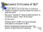 mclean s criticisms of blp