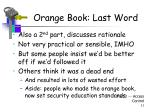 orange book last word