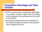 competitive advantage and value creation