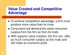 value created and competitive advantage