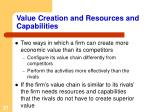 value creation and resources and capabilities