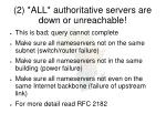 2 all authoritative servers are down or unreachable