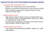 external forcing of the thermosphere ionosphere system