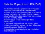 nicholas copernicus 1473 1543