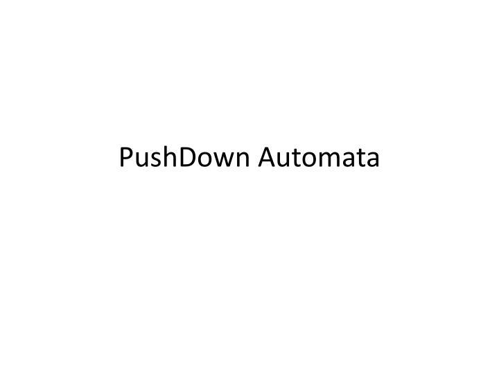 pushdown automata n.