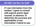 us hse tool box for e p5