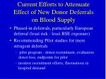 current efforts to attenuate effect of new donor deferrals on blood supply