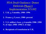 fda draft guidance donor deferrals phase i implementation 5 31 02