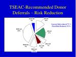 tseac recommended donor deferrals risk reduction