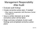 management responsibility after audit