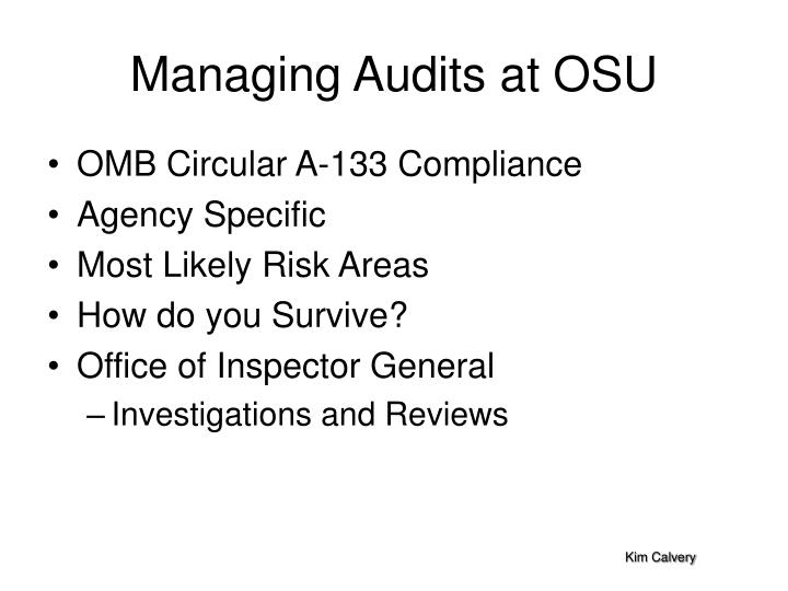 managing audits at osu n.
