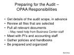 preparing for the audit opaa responsibilities