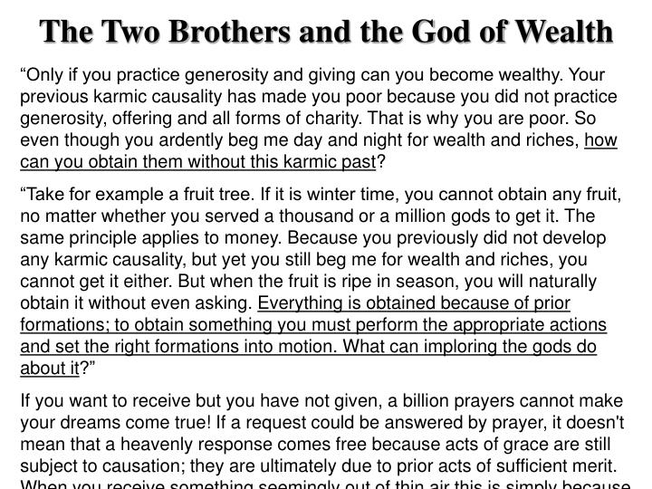 The Two Brothers and the God of Wealth