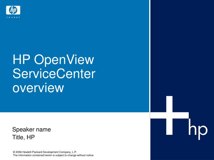 hp openview servicecenter overview n.