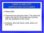 care plans ccp exptected outcomes