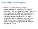make nature of science explicit