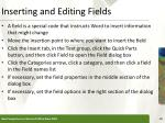 inserting and editing fields
