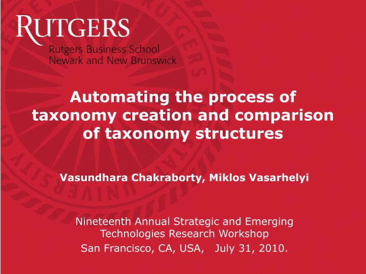 automating the process of taxonomy creation and comparison of taxonomy structures n.