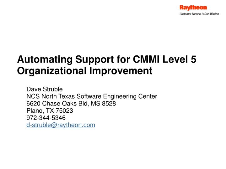 automating support for cmmi level 5 organizational improvement n.