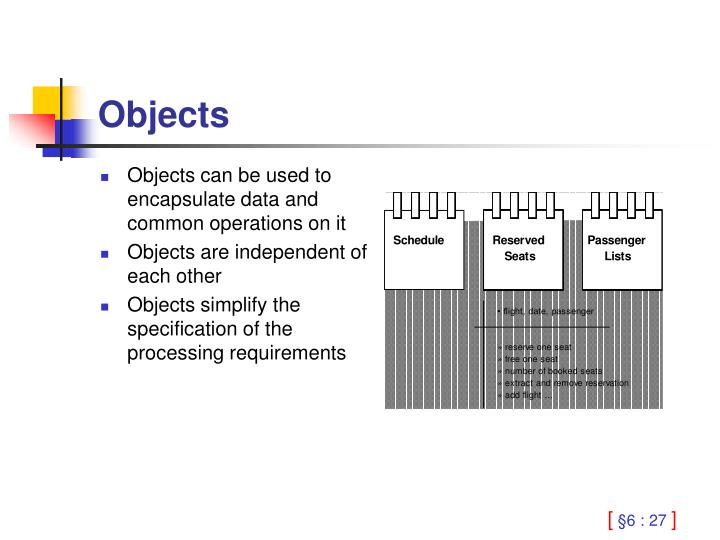 Objects can be used to encapsulate data and common operations on it