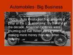 automobiles big business