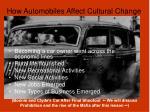 how automobiles affect cultural change