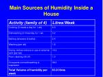main sources of humidity inside a house