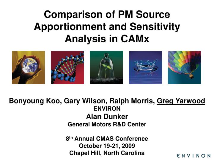 comparison of pm source apportionment and sensitivity analysis in camx n.