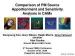 comparison of pm source apportionment and sensitivity analysis in camx