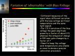 variation of observables with bias voltage