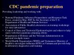 cdc pandemic preparation