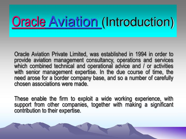 oracle aviation introduction n.