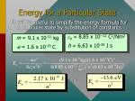 energy for a particular state