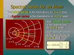 spectral series for an atom