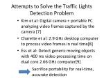 attempts to solve the traffic lights detection problem