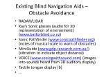existing blind navigation aids obstacle avoidance