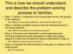 this is how we should understand and describe the problem solving process to families