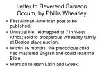 letter to reverend samson occum by phillis wheatley